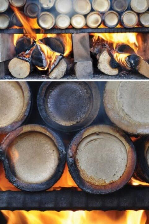 The bamboo sleeves filled with sea salt are burned for the first time.